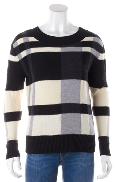 HAUTE HIPPIE Black & White Plaid Long Sleeve Crewneck Sweater