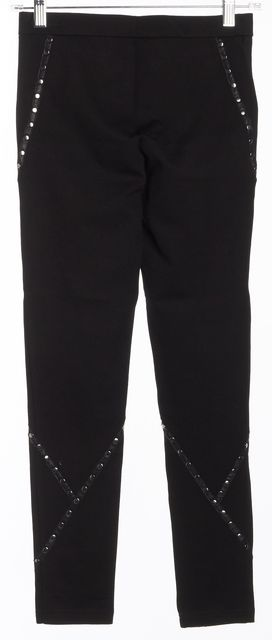 HAUTE HIPPIE Black Stud Leather Trim Leggings Pants
