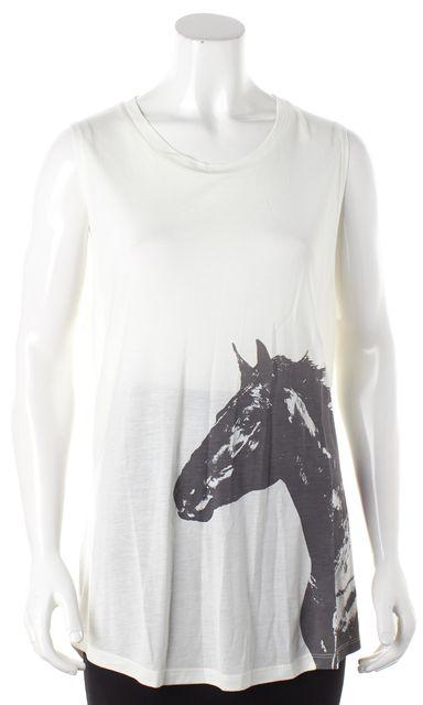 HAUTE HIPPIE White Gray Horse Print Sleeveless Graphic Tee T-Shirt