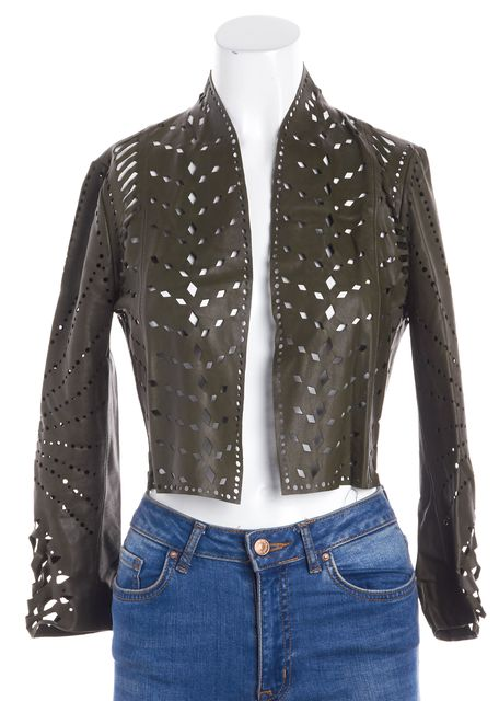 HAUTE HIPPIE Hunter Green Leather Laser-Cut Open Front Shrug Jacket
