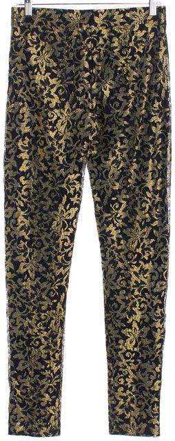 HAUTE HIPPIE Black Gold Lace Leggings Pants