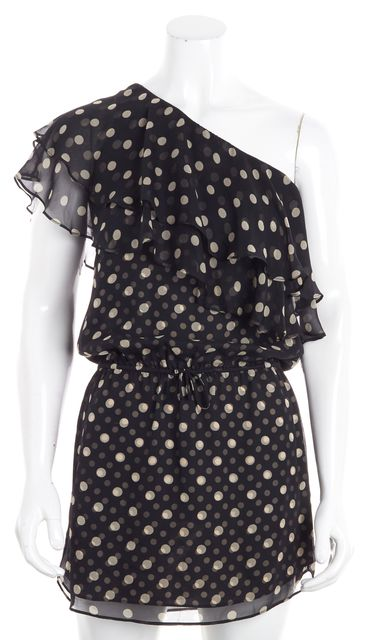 HAUTE HIPPIE Black Polka Dot Silk Drawstring One Shoulder Blouson Dress