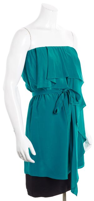 HAUTE HIPPIE Teal Green Silk Blouson Sleeveless Dress