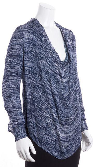 HAUTE HIPPIE Blue Long Sleeve Abstract Silk Blouse