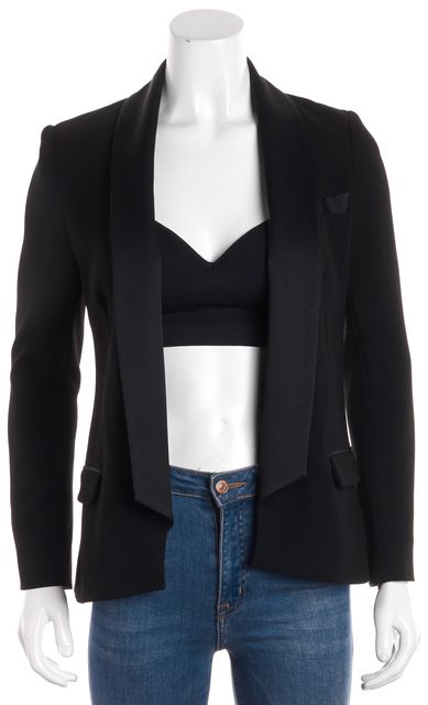 HAUTE HIPPIE Black Satin Contrast Open Blazer