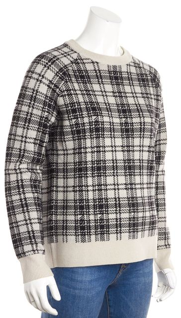 HAUTE HIPPIE Black Beige Plaid Crewneck Merino Wool Sweater