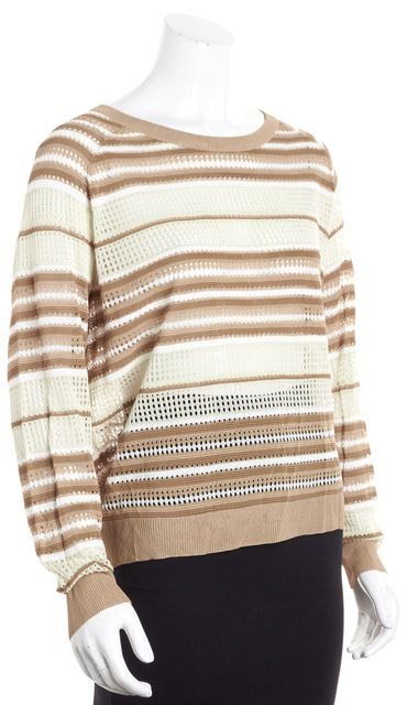 HAUTE HIPPIE Beige and Brown Striped Scoop Neck Sweater