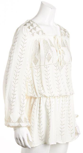 HAUTE HIPPIE Ivory Iridescent Stud Embellished Long Sleeve Tunic Blouse