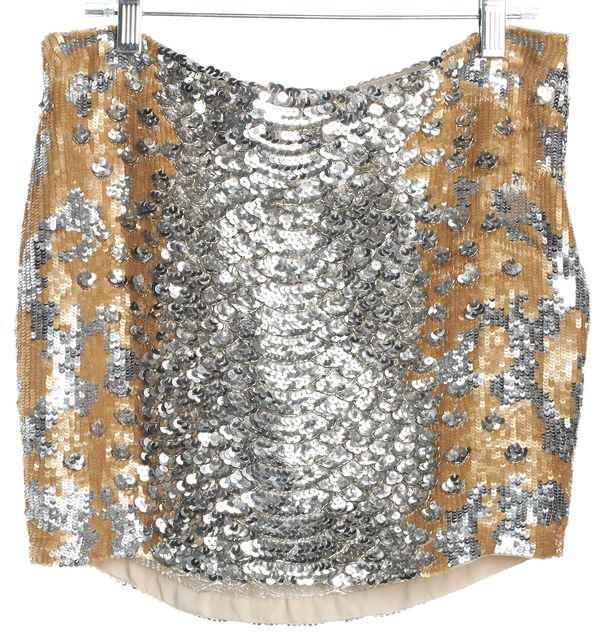 HAUTE HIPPIE Silver and Gold Sequin Mini Skirt