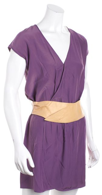 HAUTE HIPPIE Purple Cap Sleeve Belted Faux Wrap Dress