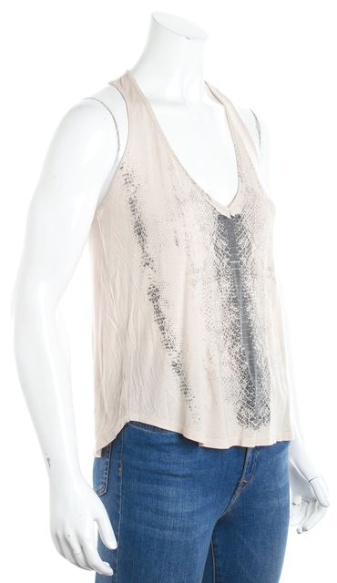 HAUTE HIPPIE Beige Graphic Racerback Tank Top