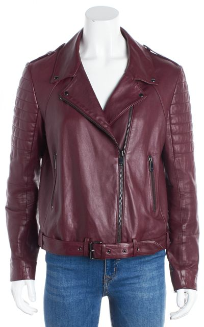 HAUTE HIPPIE Burgundy Red Lamb Leather Motorcycle Jacket
