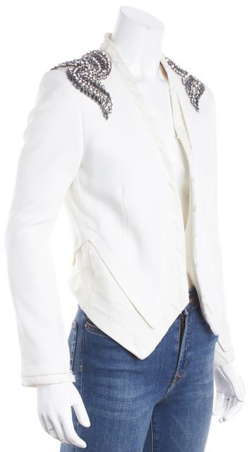HAUTE HIPPIE Ivory Jewel Embellished Blazer