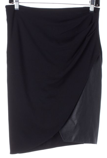 HALSTON HERITAGE Black Leather Trim Stretch Knit Skirt