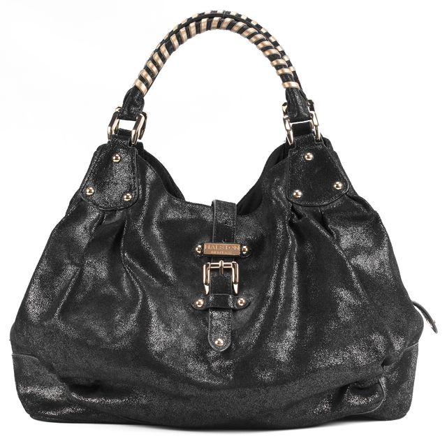 HALSTON HERITAGE Metallic Black Leather Gold Hardware Shoulder Bag