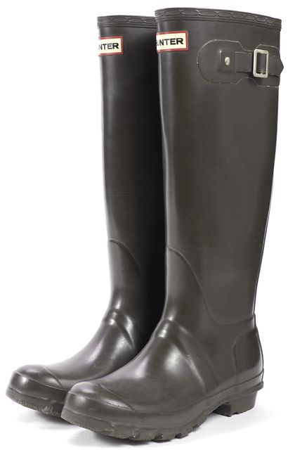 HUNTER Dark Gray Rubber Knee-High Rain Boots