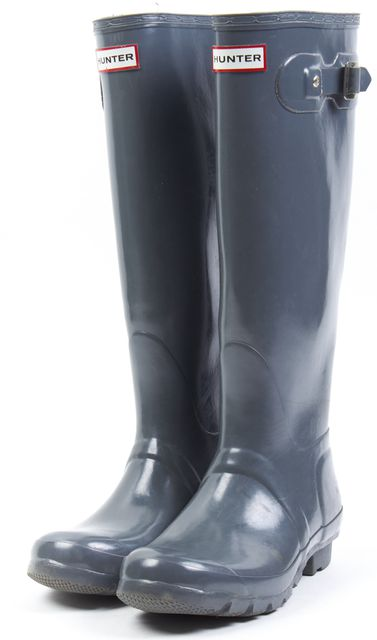 HUNTER Gray Original Gloss Rubber Knee-High Rain Boots