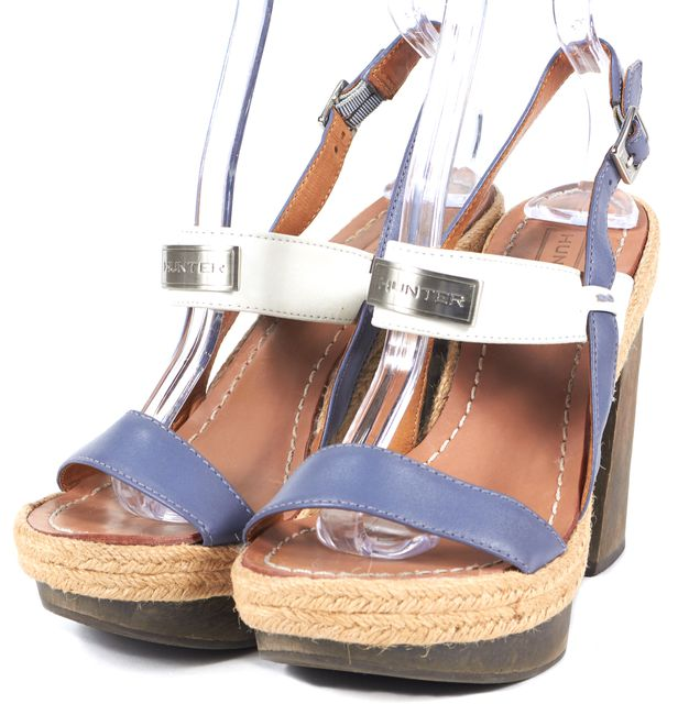 HUNTER Purple Ivory Leather Espadrille Platform Sandal Heels