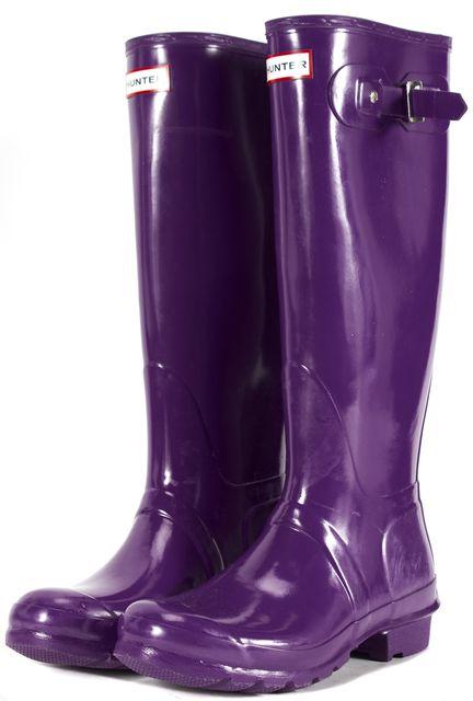 HUNTER Purple Distressed Rubber Rain Boots
