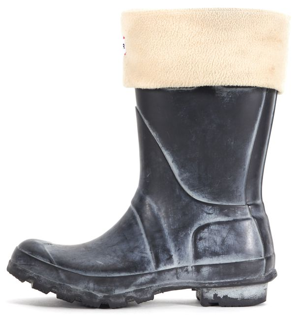 HUNTER Black Gray White Rubber Wellington Thermal Rain/Snow Boots
