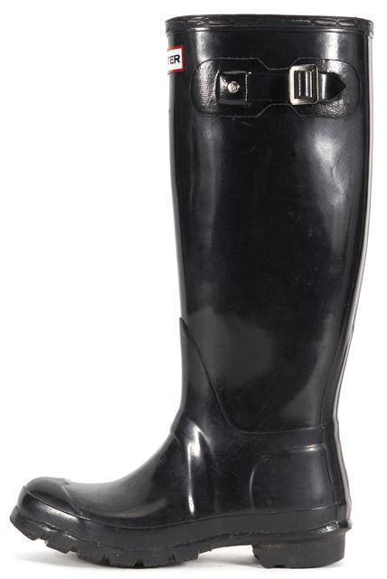 HUNTER Black Rubber Gloss Knee-High Rainboots
