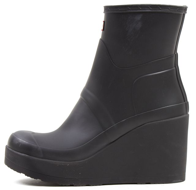 HUNTER Black Rubber Ankle Wedge Rain Boots Boots