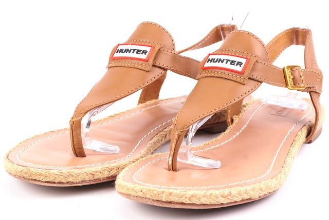 HUNTER Brown Leather T-Strap Sandals