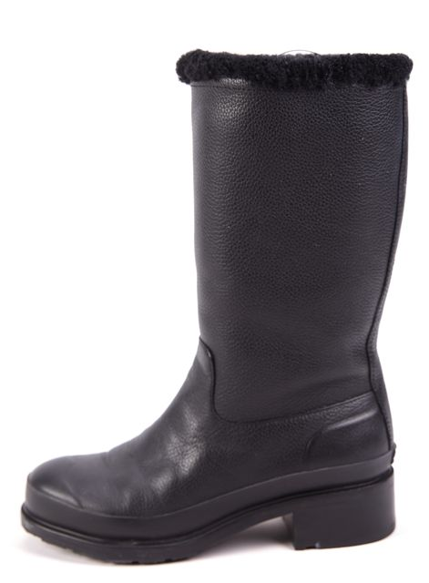 HUNTER Black Leather Mid-Calf Boots W/ Sterling Lining