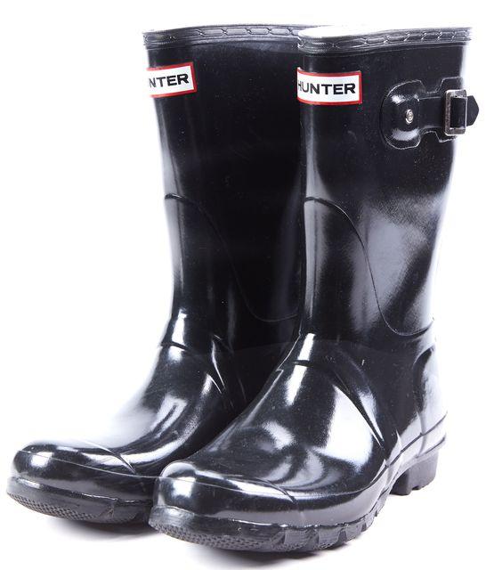 HUNTER Black Silver Tone Hardware Embellished GlossHTW Rainboots