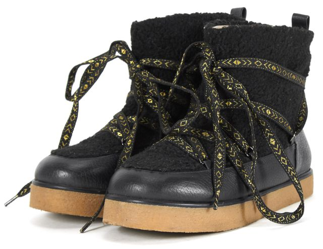 HOUSE OF HOLLAND Black Gold Metallic Leather Laced Shearling Ankle Boots