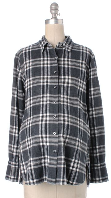 HATCH Maternity Gray White Plaid Flannel Cotton Button Down Shirt Top One Size