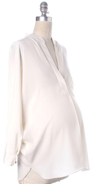 HATCH Petites Maternity Ivory Mandarin Collar V-Neck Dolman Blouse One Size