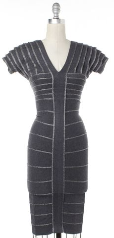HERVE LEGER Gray Glitter Striped Bodycon Dress