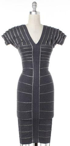 HERVE LEGER Gray Glitter Striped Bodycon Dress Size XXS