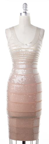 HERVE LEGER Beige Blush Pink Ombré Sequin Ebba Bandage Bodycon Dress