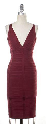 HERVE LEGER Burgundy Bodycon Dress