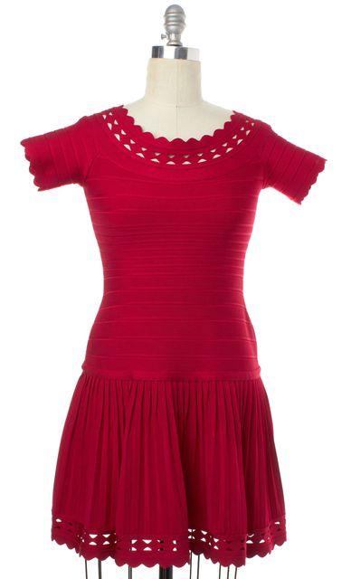 HERVE LEGER Dark Crimson Red Khloe Lazer Cut Fit Flare Dress