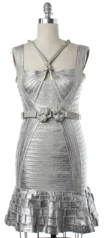 HERVE LEGER Silver Bodycon Cutout Belted Sleeveless Dress