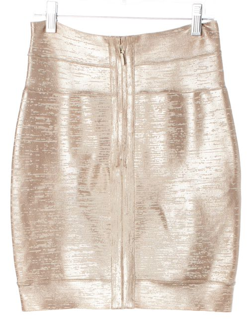 HERVE LEGER Gold Blush Metallic Vdara Stretch Knit Bodycon Bandage Skirt