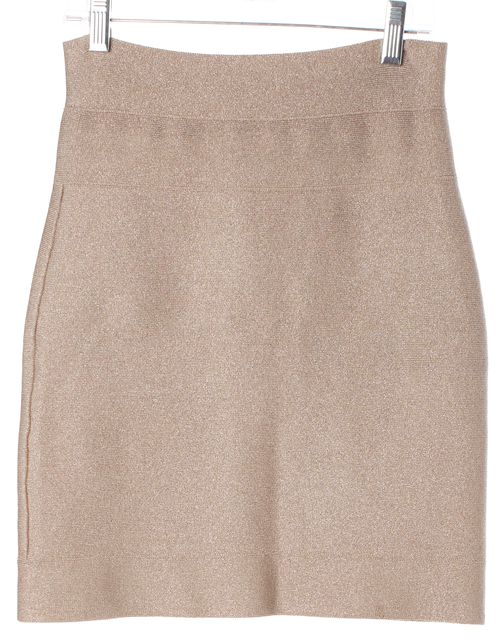 HERVE LEGER Pink Metallic Shimmer Stretch Knit Bodycon Skirt