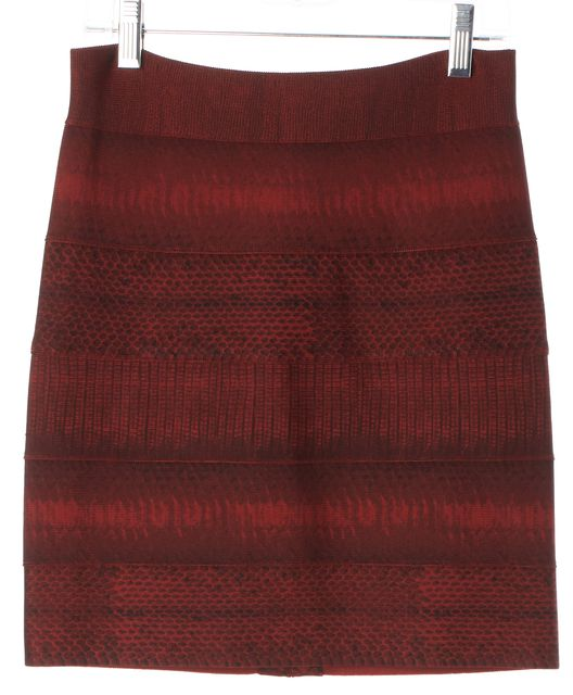 HERVE LEGER Red Black Reptile Printed Stretch Knit Bodycon Bandage Skirt