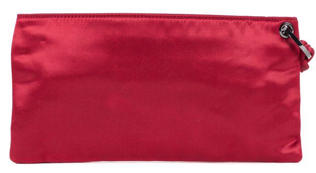 HERVE LEGER Red Satin Long Clutch Wristlet