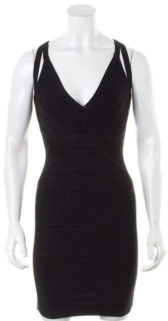 HERVE LEGER Black Sleeveless Cutout Dema Bodycon Dress
