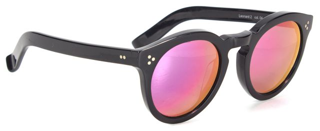 ILLESTEVA Black Acetate Mirrored Lens Leonard 2 Round Sunglasses w/ Case