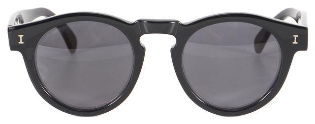 ILLESTEVA Black Acetate Leonard Round Sunglasses w/ Case