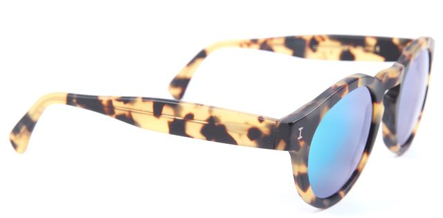 ILLESTEVA Leonard Matter Tortoise Green Mirrored Circle Sunglasses