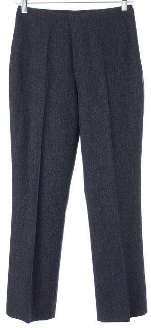 INCOTEX Blue Stretch Virgin Wool Herringbone High Rise Trousers Pants