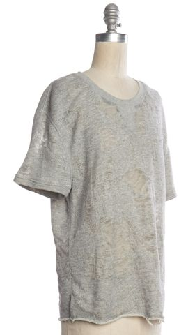 IRO JEANS Gray Gaetane Distressed Knit Sweatshirt