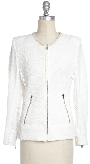 IRO White Amiya Fish Net Trim Basic Jacket