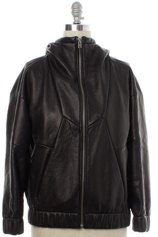 IRO Black Leather Basic Jacket Size 6 FR 38